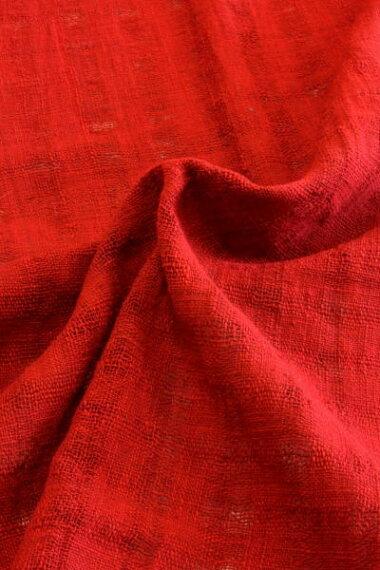 【あかね色】綿生地品番EN-204(506)幅70cm(手紡ぎ、手織りの布)赤色、コットン、透け感のある集散の模様織り