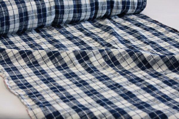 【藍染め格子柄】、綿生地 品番、ENR-20(704) 幅72cm(手紡ぎ、草木染の手織り布)チェック、コットン【ナーニャン村の布】