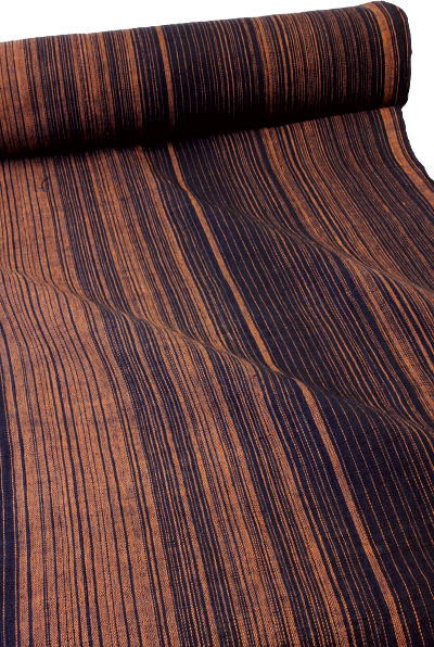 グラデーション縞柄、綿生地 品番/EK-027/RE(1304a) 幅71cm(手紡ぎ、草木染めの手織り布)コットン厚手の布/SHOKUラオスの布【ノイ村の布】