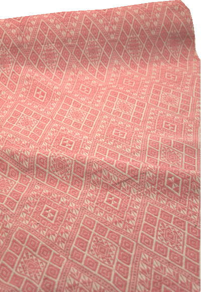 【ピンク色】紋織り 綿生地 品番 XAH-1/PKGY(607) 幅67cm以上 (草木染・手織りの布)ラオスの伝統柄 コットン【ウドムサイの布】