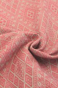 【ピンク色】紋織り 綿生地 品番 XAH-1/PKGY(607) 幅67cm以上 (草木染・手織りの布)ラオスの伝統柄 コットン【ウドムサイの布】ナチュラル素材です。ハンドメイドにどうぞ。