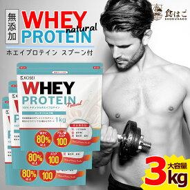 【送料無料】ナチュラルホエイプロテイン 3kg [ 無添加 保存料不使用 ホエイ ダイエット 筋肉 ポイント消化 大容量 アミノ酸 タンパク質]