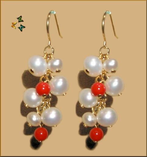 YG18Kボリューム満点赤サンゴ&白真珠 ロングピアス