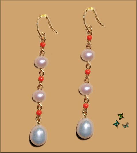メール便【送料無料】YG18K白真珠&赤珊瑚人気揺れるロングピアス