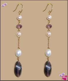 YG18K/18k紫アメジストクオーツ&白淡水真珠7cm揺れるロングピアスカラーストーン/誕生石