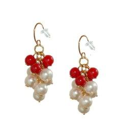 18Kピアス ゴールド 白真珠 パール 赤サンゴ 珊瑚 ぷるぷるロング 誕生石 カラーストーン