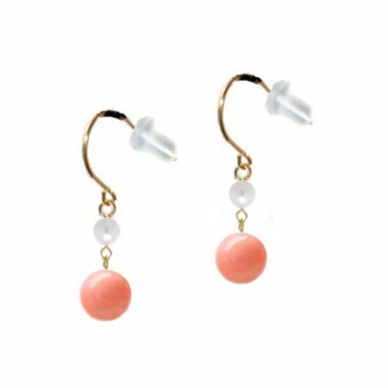 ピンク珊瑚 真珠イエローゴールド18金かけ式フックピアス キャッチ付