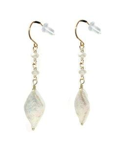 k18ピアス 18金フック ジュエリー コイン 珍しい 真珠 大粒 パール レディース 誕生石 キャッチ有 スリーストーン