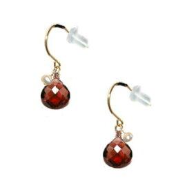 k18ピアス白真珠赤ガーネット人気揺れるピアス誕生石カラーストーンおしゃれ