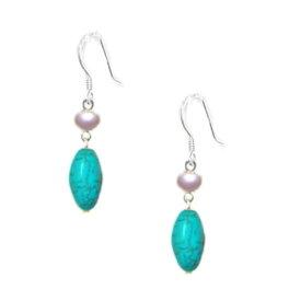 ターコイズトルコ石白真珠揺れるシルバーロングアメリカンピアス人気イヤリングも有り