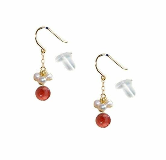 18金 ピアス レディース 赤珊瑚 真珠 パール K18 コーラル サンゴ かわいい ゴールド