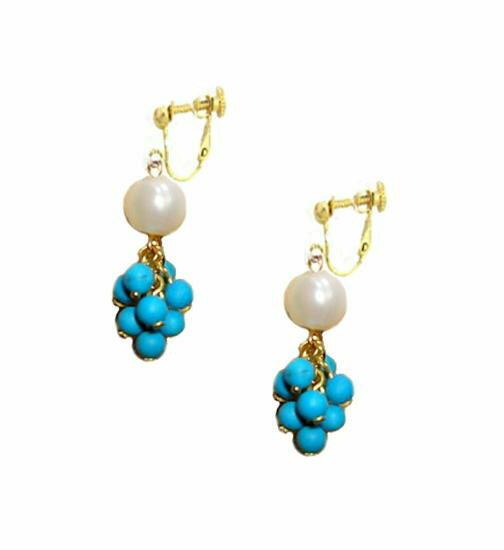 ターコイズ/トルコ石イヤリング/小ぶりブルー/大粒真珠/ホワイトパールイアリング/揺れるロングイヤリング/カラーストーン 誕生石