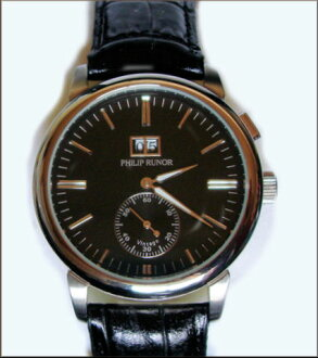PHILIP RUNOR round case authentic sect men's self-winding mechanical watch dial: black and white 2 types
