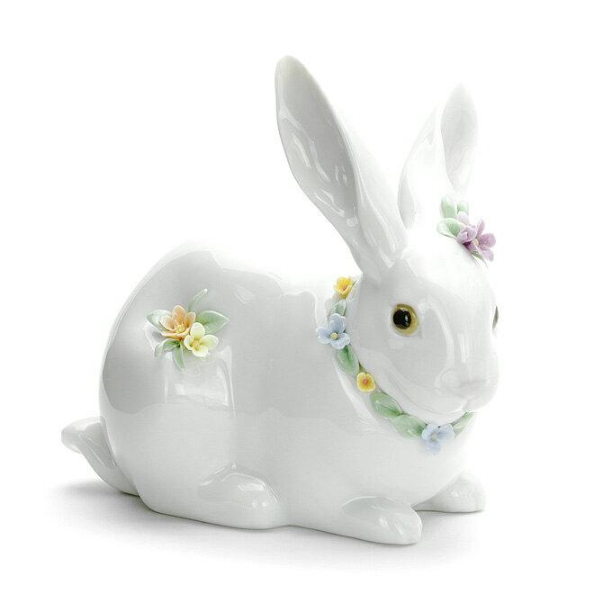 リヤドロ LLADRO 花飾りの白うさぎ2 1006098 ATTENTIVE BUNNY WITH FLOWERS ポーセリン 陶器 【楽ギフ_包装】