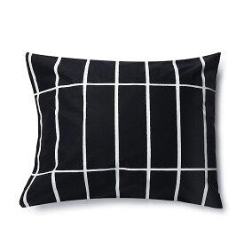 マリメッコ marimekko ティイリスキヴィ ピローケース 50x60cm (ブラック×ホワイト) 067585 910 Tiiliskivi Pillow case 枕カバー 黒 白 モノトーン ファブリック