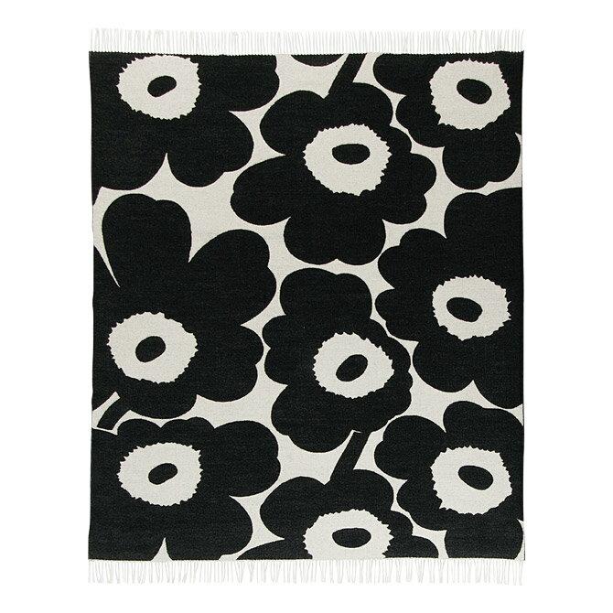 マリメッコ marimekko ウニッコ ウールブランケット (ホワイト×ブラック) Unikko blanket 130x180cm 068994 190 マフラー ストール