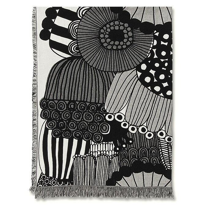 マリメッコ marimekko シィールトラプータルハ コットン ブランケット (エクリュ×ブラック) Siirtolapuutarha blanket 069298 190 マフラー ストール 花柄 【ラッキーシール対応】