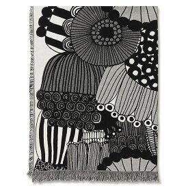 マリメッコ marimekko シィールトラプータルハ コットン ブランケット (エクリュ×ブラック) Siirtolapuutarha blanket 069298 190 マフラー ストール 花柄