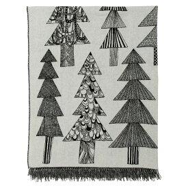 マリメッコ marimekko クーシコッサ ブランケット (ブラック×ホワイト) Kuusikossa blanket 070019 910 マフラー ストール 木 植物 ツリー 【ラッキーシール対応】