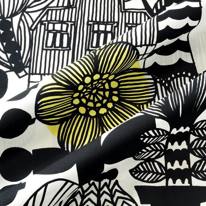 マリメッコ marimekko ファブリック生地 リントゥコト(192 ホワイト×ブラック) 10cm単位カット販売 067025 192 Cotton fabric LINTUKOTO マリメッコ生地