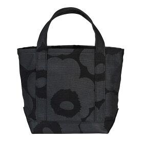 マリメッコ marimekko Wx ピエニウニッコ トートバッグ (ブラック×ブラック) 047586 999 Seidi Pieni Unikko bag 黒 ワンカラー シック 花柄 フラワー オールブラック