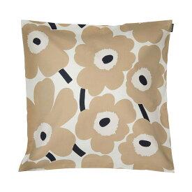 マリメッコ marimekko ピエニウニッコ クッションカバー 50x50cm (ベージュ×ダークブルー×オフホワイト) 069251 185 Pieni Unikko cushion cover 花柄 フラワー