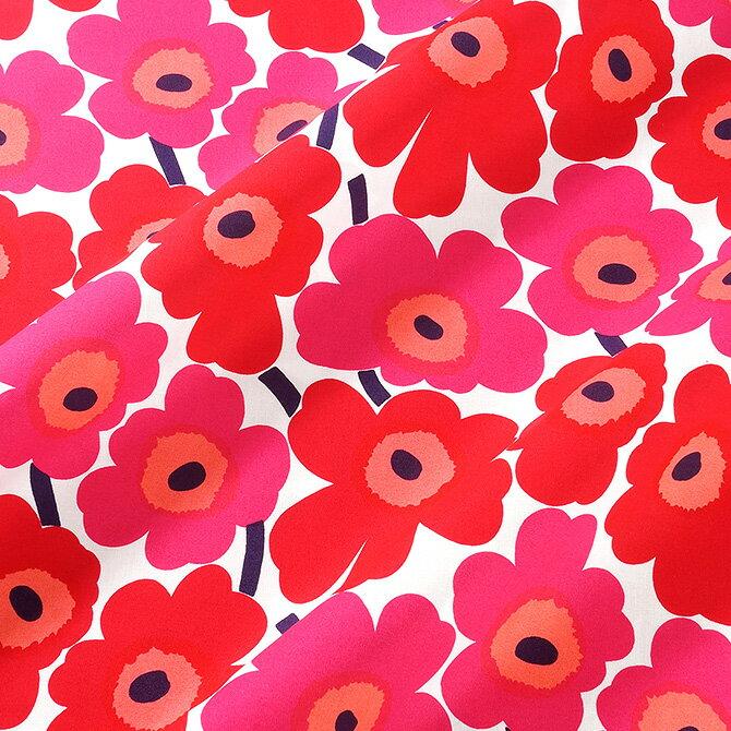 マリメッコ marimekko ファブリック生地 ミニウニッコ (001 レッド×ピンク) 10cm単位カット販売 066475 001 Cotton fabric MINI UNIKKO マリメッコ生地