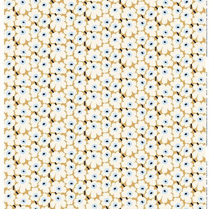 マリメッコ marimekko ファブリック生地 ミニウニッコ (815 ベージュ×オフホワイト×ブルー) 10cm単位カット販売 066475 815 Cotton fabric MINI UNIKKO マリメッコ生地