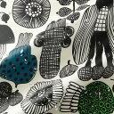 マリメッコ marimekko 撥水加工 コーティングコットン生地 プータルフリン パルハート (960 ホワイト×ブラック×グ…