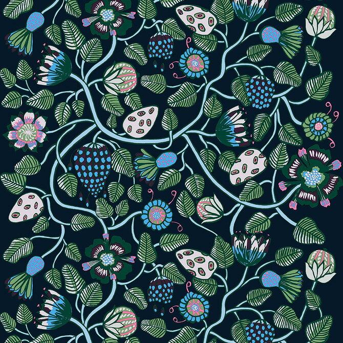 マリメッコ marimekko ファブリック生地 ティアラ (560 ブルー×グリーン×グレー) 10cm単位カット販売 067645 560 Cotton fabric TIARA マリメッコ生地