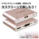 スマホ/タブレット to HDMI+VGA+Audio アダプター iPhone5以降/android/TabletPC全対応 ◇ALW-P27