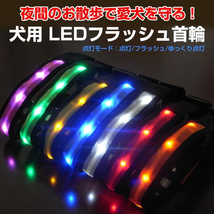 犬用 LED首輪 安全ライト LEDライト 軽量 首に負担が無い 7色 光る首輪 夜のお散歩◇ALW-AMP-930【メール便】
