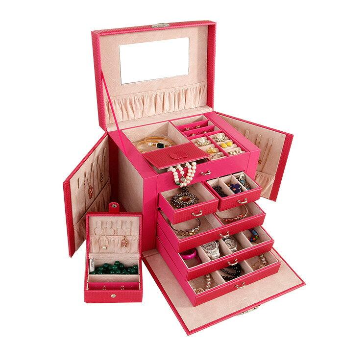 ジュエリー収納ボックス ジュエリーケース レザー 5段 左右大容量収納可能 レザージュエリー収納ケース アクセサリーボックス 宝石箱 化粧BOX 上品 可愛い ◇ALWF-SP01119
