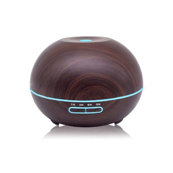 木目調 アロマディフューザー 超音波式 加湿器 卓上 LED7色ライト アロマテラピー 時間設定 空焚き防止 ◇ALW-XZ-304