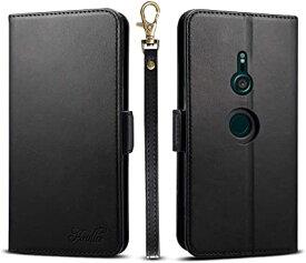 Xperia xz3 ケース 手帳型 エクスペリアxz3 SO-01L SOV39 801SO カードケース サイドマグネット スタンド機能 Xperia xz3 スマホケース 財布型 カバー ブラック