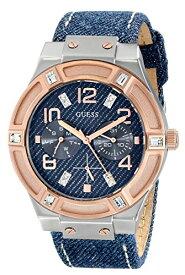 ゲス GUESS 腕時計 レディース U0289L1 GUESS Women's U0289L1 Silver and Rose Gold-Tone Multi-Function Watch with Denim Strapゲス GUESS 腕時計 レディース U0289L1