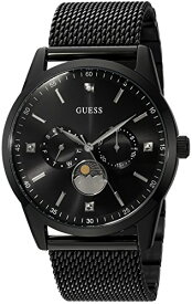 ゲス GUESS 腕時計 メンズ U0869G1 GUESS Black Ionic Plated Mesh Bracelet Watch with Genuine Diamond, Day, Date + Moonphase. Color: Black (Model: U0869G1)ゲス GUESS 腕時計 メンズ U0869G1