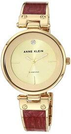 アンクライン 腕時計 レディース AK/2512BYGB 【送料無料】Anne Klein Women's AK/2512BYGB Diamond-Accented Gold-Tone and Burgundy Marbleized Bangle Watchアンクライン 腕時計 レディース AK/2512BYGB