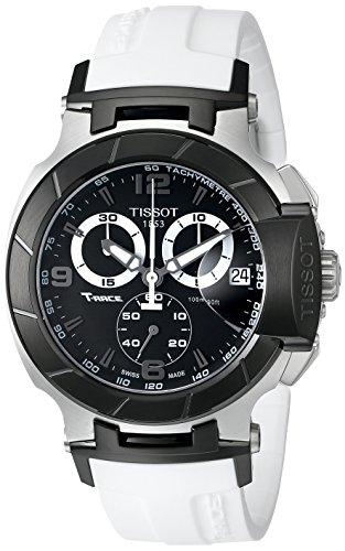 ティソ 腕時計 メンズ T0484172705705 Tissot Men's T0484172705705 T-Race Black Chronograph Watch with White Rubber Strapティソ 腕時計 メンズ T0484172705705