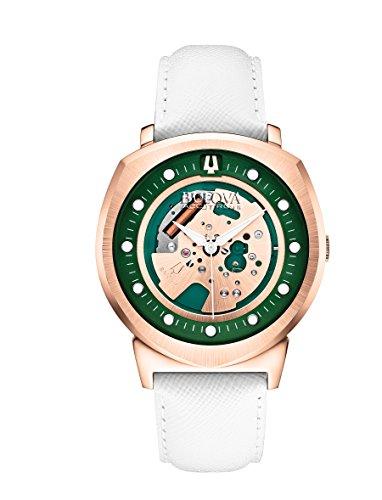 ブローバ 腕時計 メンズ 97A111 Bulova Accutron II Unisex UHF Watch with Green Dial Analogue Display and White Leather Strap - 97A111ブローバ 腕時計 メンズ 97A111