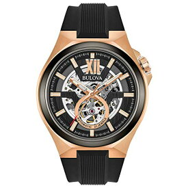 ブローバ 腕時計 メンズ 98A177 Bulova Men's Stainless Steel Automatic-self-Wind Watch with Silicone Strap, Black, 27 (Model: 98A177)ブローバ 腕時計 メンズ 98A177
