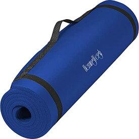 ヨガマット フィットネス 【送料無料】HemingWeigh Yoga Mat for Outdoor and Indoor Exercise with Strap Carrier, High Density 1/2 Inch Thick Foam, Blueヨガマット フィットネス