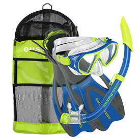 シュノーケリング マリンスポーツ 281094 【送料無料】U.S. Divers Junior Kids Dorado Mask, Proflex Fins, & Sea Breeze Snorkel Set with Carry Travel Bag, Yellow/Blueシュノーケリング マリンスポーツ 281094