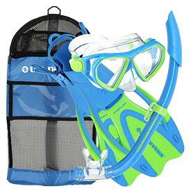 シュノーケリング マリンスポーツ 281093 【送料無料】U.S. Divers Dorado II Pro Snorkel Set (Yellow/Blue). Youth Snorkel Mask, Snorkel, Fins, and Gear Bag (Small, 9-13).シュノーケリング マリンスポーツ 281093