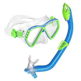 シュノーケリング マリンスポーツ 240370 【送料無料】U.S. Divers Junior Regal Kids Swimming Mask and Dry Top Snorkel Youth Combo Set, Blue/Greenシュノーケリング マリンスポーツ 240370