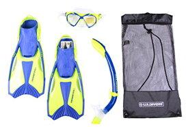 シュノーケリング マリンスポーツ 【送料無料】U.S. Divers Icon/SeaBreeze/ Proflex/Cbag Snorkel, Mask and Fin Set (green/blue, small youth)シュノーケリング マリンスポーツ