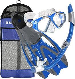 シュノーケリング マリンスポーツ 256985 【送料無料】U.S. Divers Cozumel Seabreeze Adult Snorkeling Combo Set with Adjustable Mask, Snorkel, Medium/Large Fins (8-9.5), and Travel Bag, Blueシュノーケリング マリンスポーツ 256985