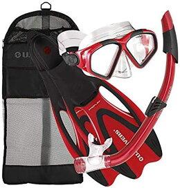 シュノーケリング マリンスポーツ 256995 【送料無料】U.S. Divers Cozumel Seabreeze Adult Snorkeling Combo Set with Adjustable Mask, Snorkel, Extra-Large Fins (11.5-13), and Travel Bag, Blueシュノーケリング マリンスポーツ 256995