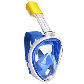 シュノーケリング マリンスポーツ 【送料無料】ECBUY Full Face 180°View with Anti-Fog and Anti-Leak Technology-Cutting-edge Easy Breathing Design Compatible Snorkel Mask- Panoramic Full Face Design See More (Blue, シュノーケリング マリンスポーツ
