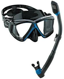 シュノーケリング マリンスポーツ 【送料無料】Cressi Panoramic Wide View Mask Dry Snorkel Set (Black Blue)シュノーケリング マリンスポーツ